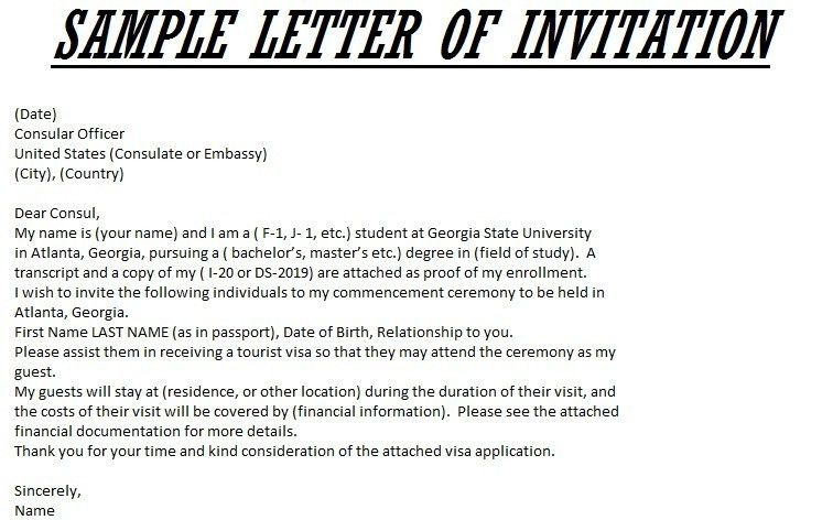How To Write A Letter Of Invitation For Visa Application Letter Of ...