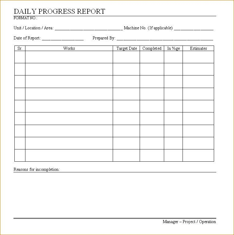 Daily Work Report Template. Daily Work Report Format Sample Others ...