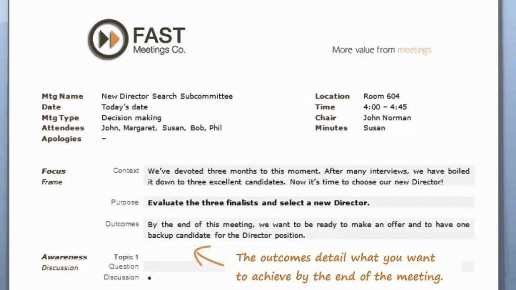 Fast Meetings Worlds Best Agenda Template Instructional Video ...