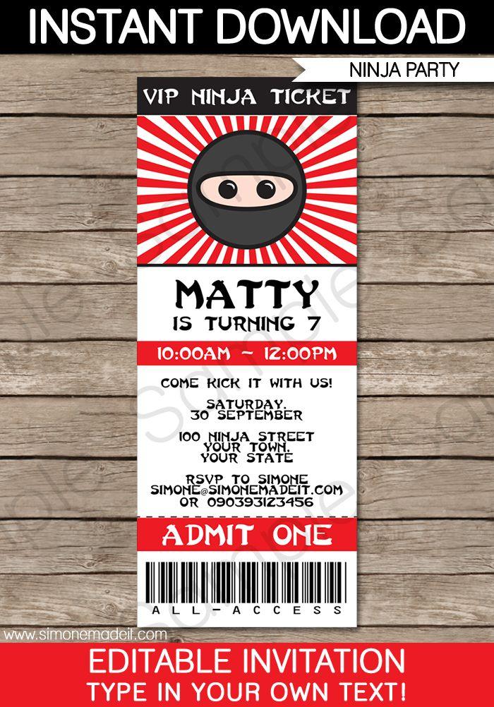 Ninja Party Ticket Invitations   Birthday Party   Template