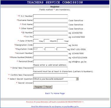 Online Payslips | Teachers Service Commission