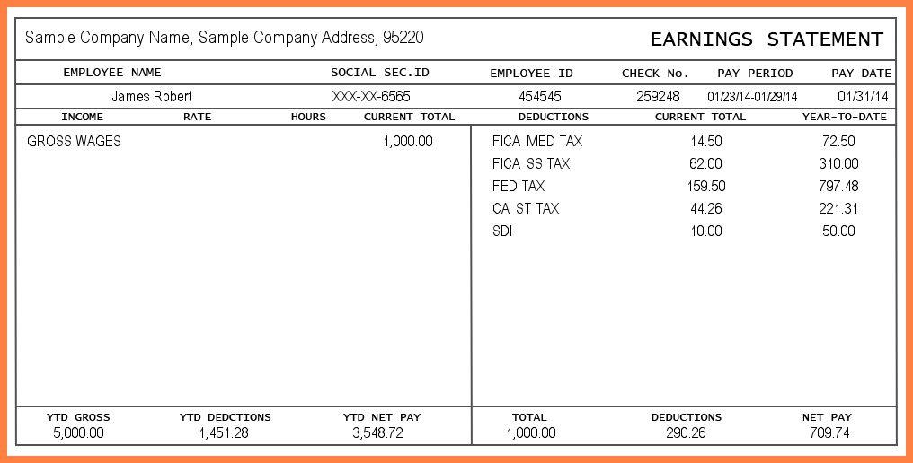 4+ salary pay stub template | Securitas Paystub