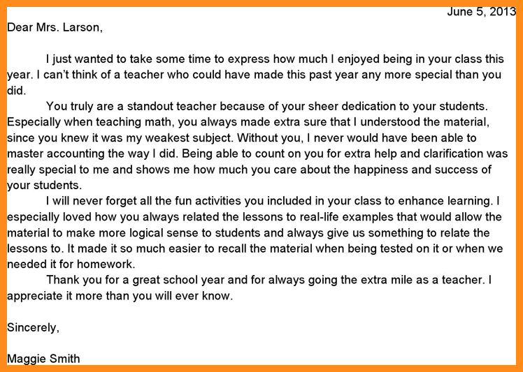 teacher appreciation letter template. sample teacher thank you ...