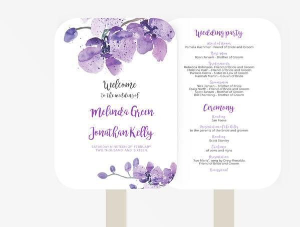 Wedding Fan Program Template | Editable Word template | Instant ...