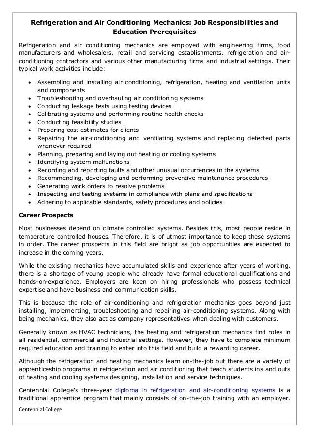 Refrigeration and air conditioning mechanics job responsibilities and…