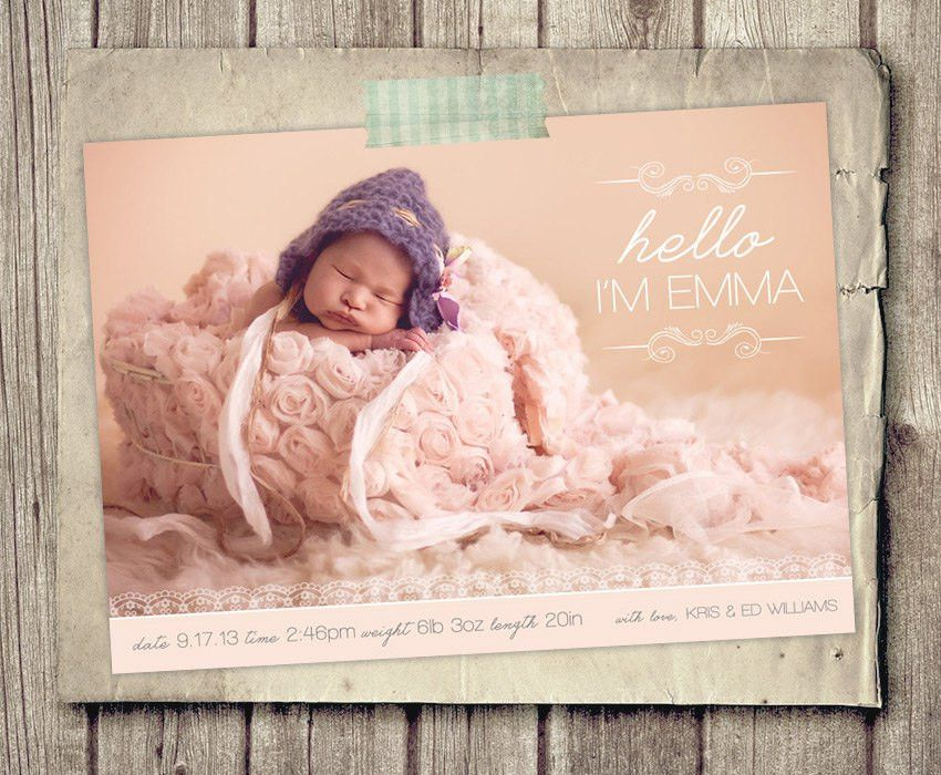 Birth Announcement Template Layered PSD Pink Baby