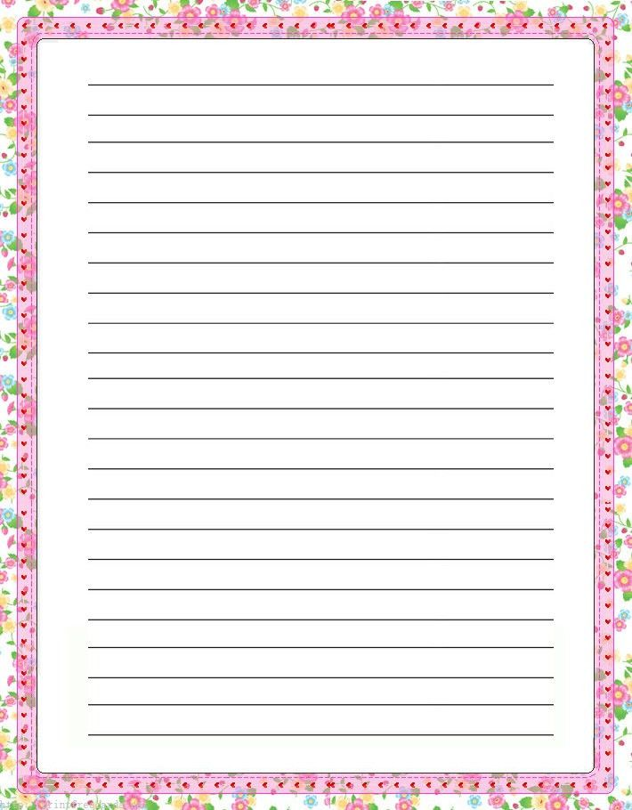 Elegant floral free printable stationery for kids, Primary lined ...