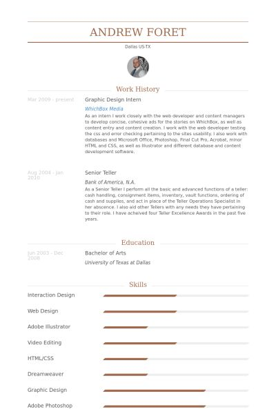 Graphic Design Intern Resume samples - VisualCV resume samples ...