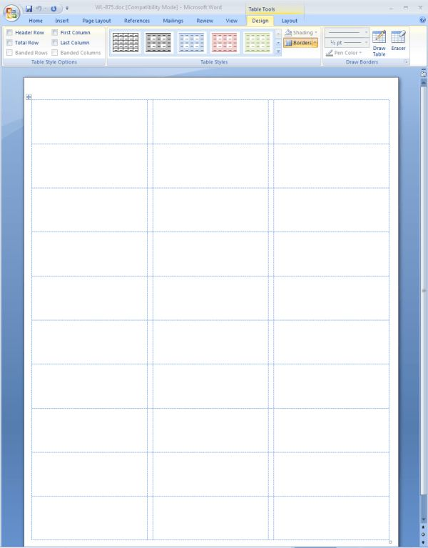 Showing Gridlines in a MS Word Label Template | Worldlabel Blog