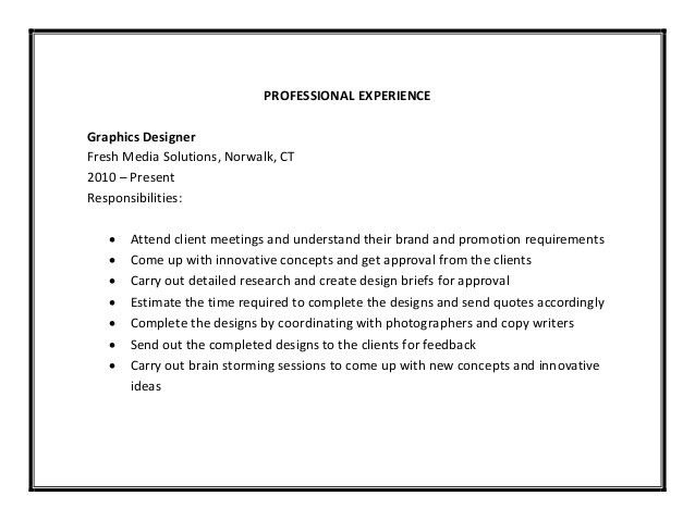 Sample resume graphic designer job