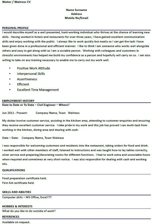 cv personal statement examples chef