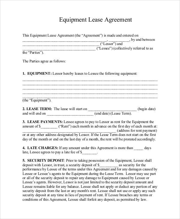 Samples of Lease Agreement - 9+ Examples in Word, PDF