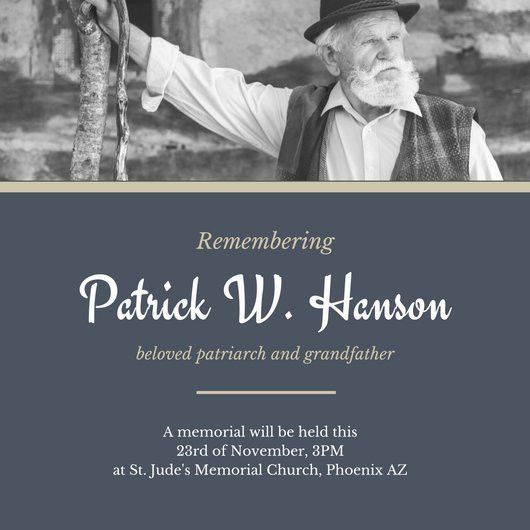 Blue Gold Old Man Funeral Invitation - Templates by Canva
