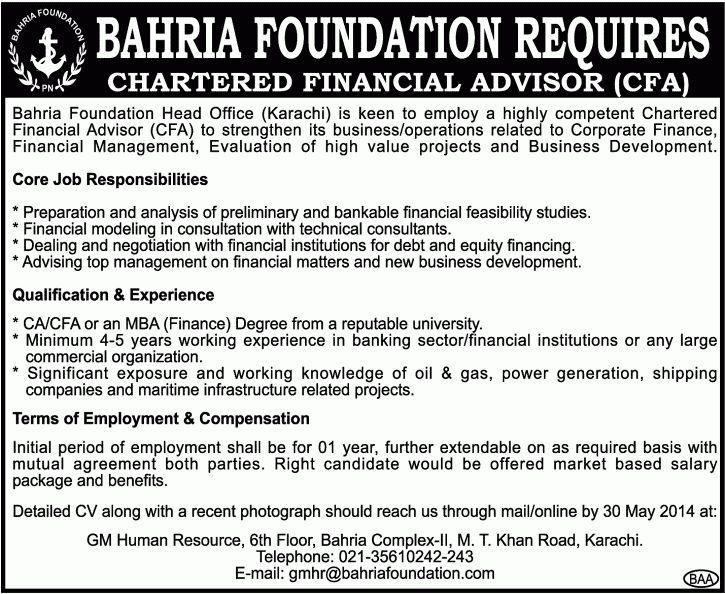 Chartered Financial Advisor CFA Job, Bahria Foundation Head Office ...