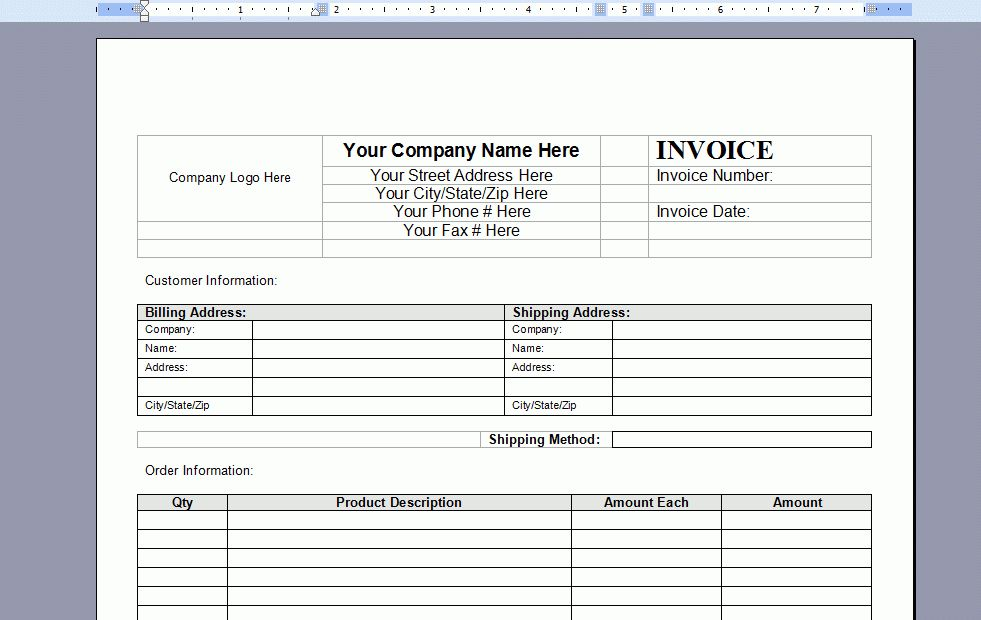Free word invoice template –