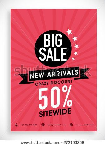 Stylish Big Sale poster, banner or flyer design with discount ...