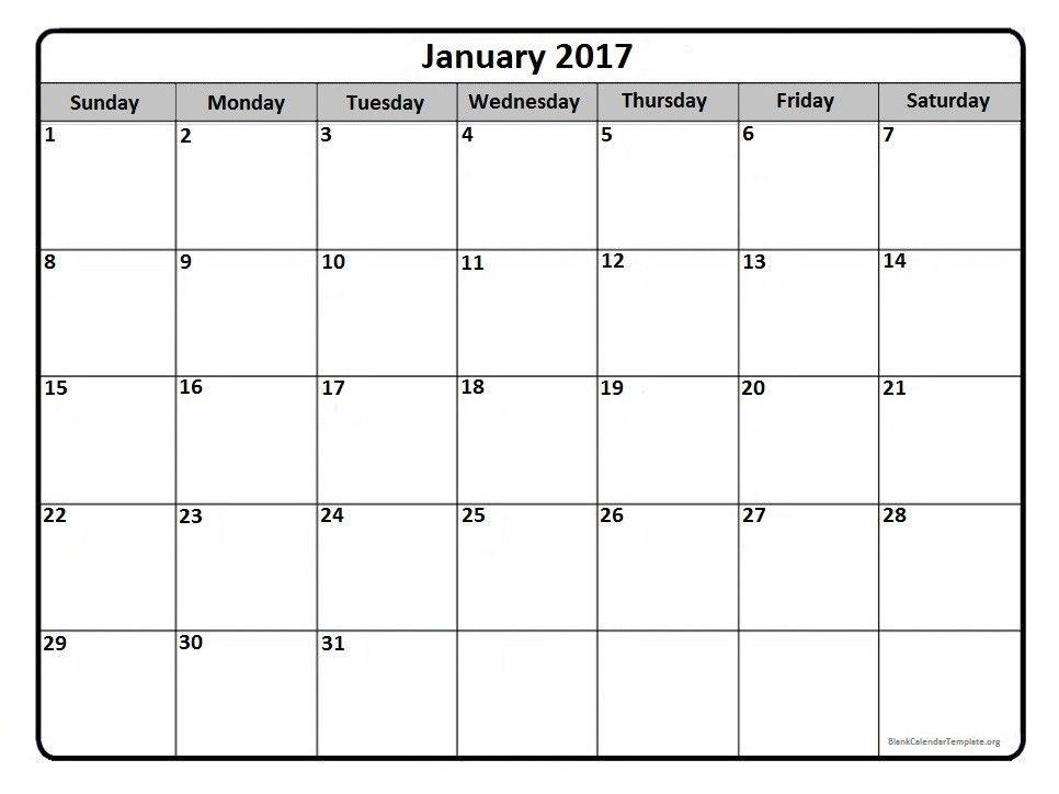 2017 Monthly Calendar Template Word | weekly calendar template