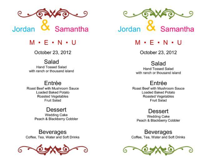 Wedding Menu Template - 5 Free Printable Menu Cards