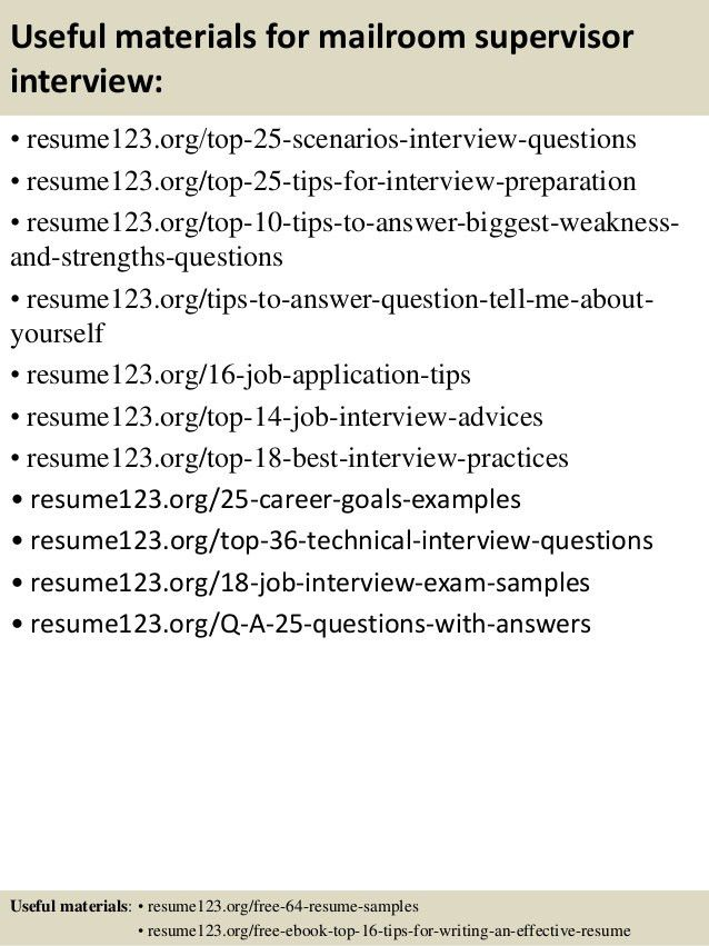 top 8 mailroom supervisor resume samples