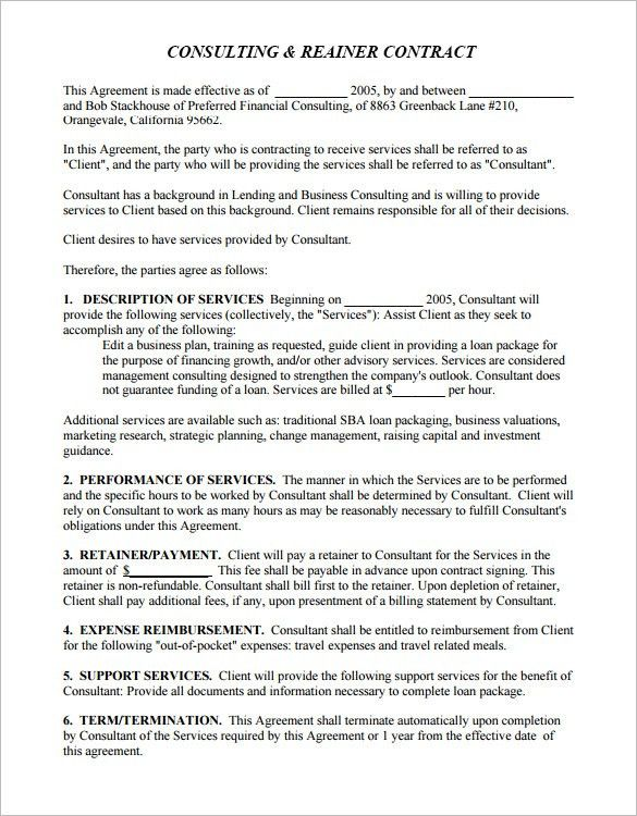 4+ Retainer Contract Templates – Free Word, PDF Format Download ...