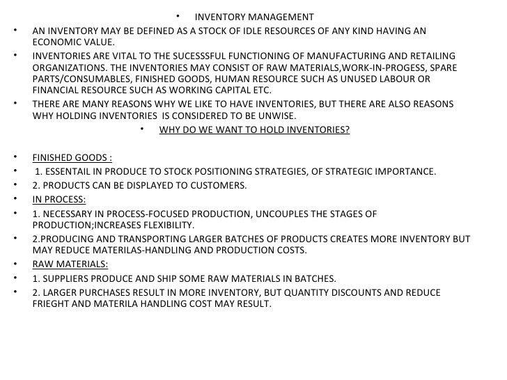 Inventory control management
