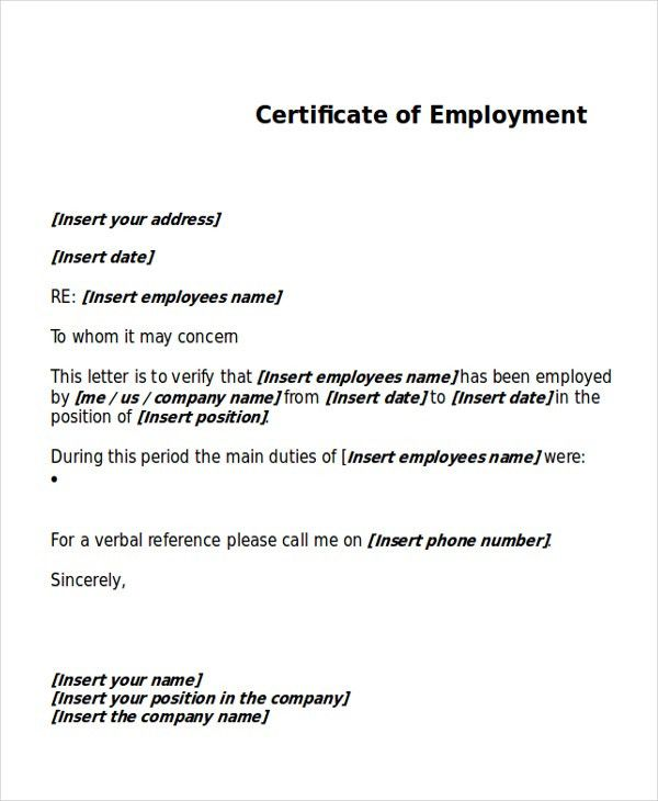 Work Certificate Template - 7+ Free Word, PDF Document Download ...
