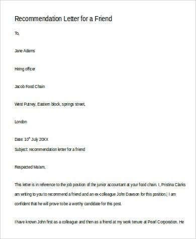Sample Recommendation Letter for a Friend - 6+ Examples in Word, PDF