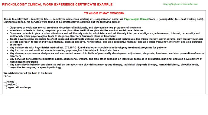 Psychologist Clinical Work Experience Letters