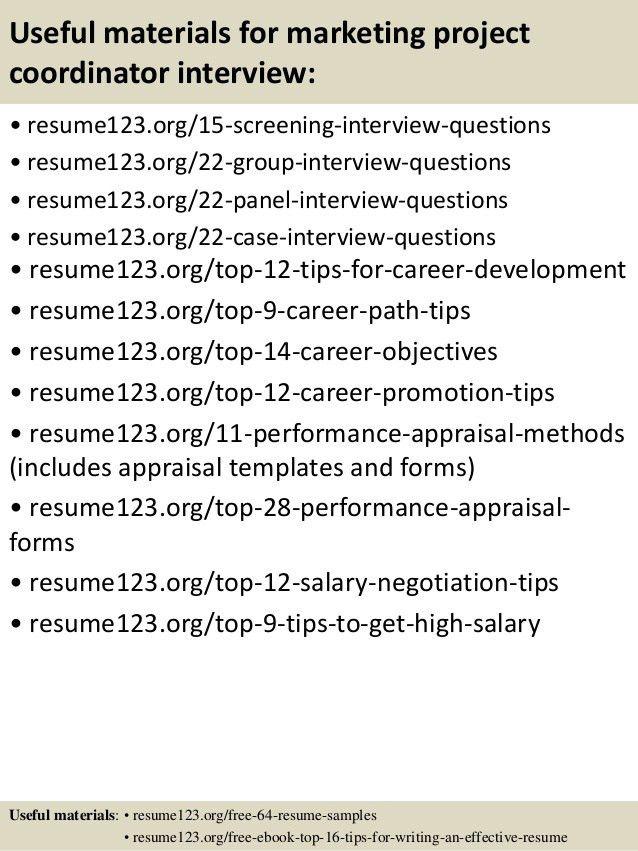 Top 8 marketing project coordinator resume samples