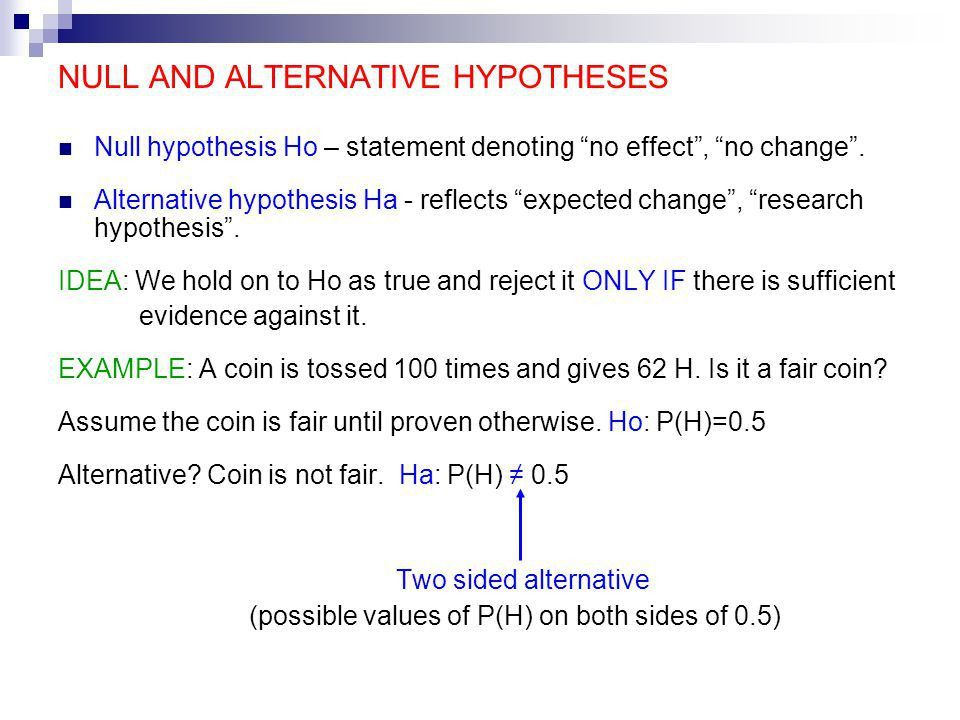 How to write out null and alternative hypothesis
