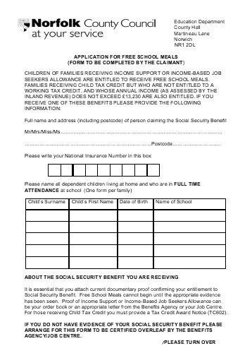 Application form for free schools meals and uniform hardship