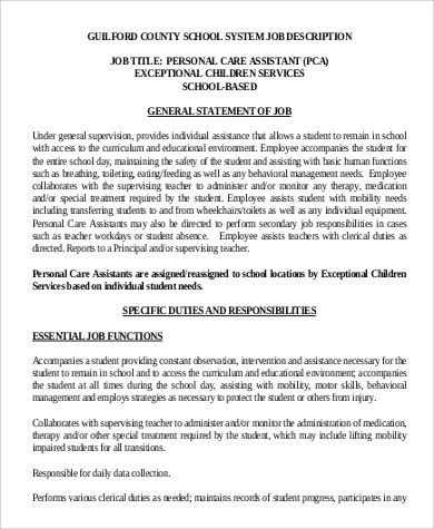 Pca Job Description. Nanny & Nursing Resumes Caregiver Resume ...
