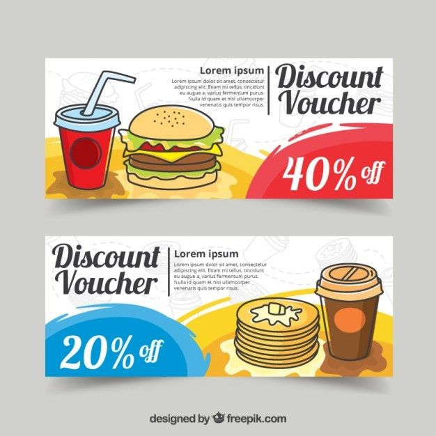 Food discount vouchers design Vector | Free Download