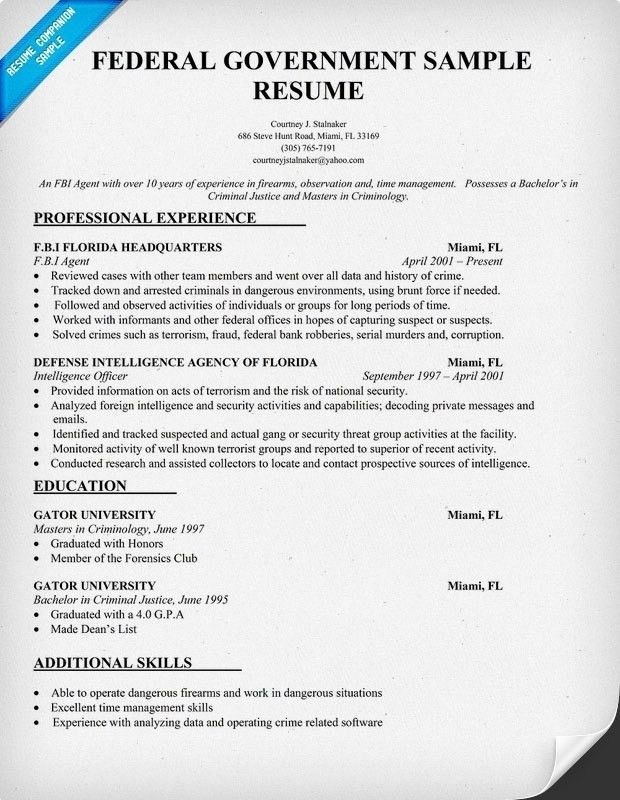 Download Federal Resume Template | haadyaooverbayresort.com