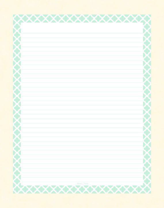 Mint Quatrefoil Border Lined Paper by JeniciasFancies, - $2.00 ...