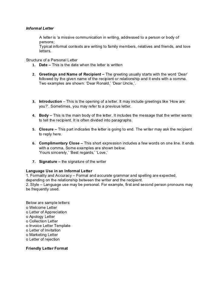 Formal and informal letter