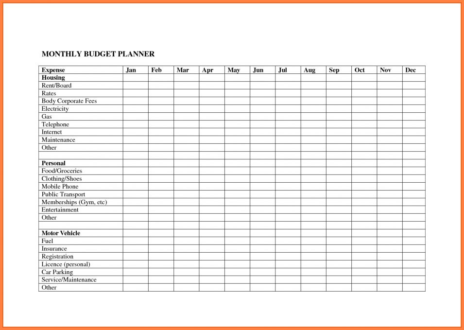 8+ monthly expenses spreadsheet template | Excel Spreadsheets Group