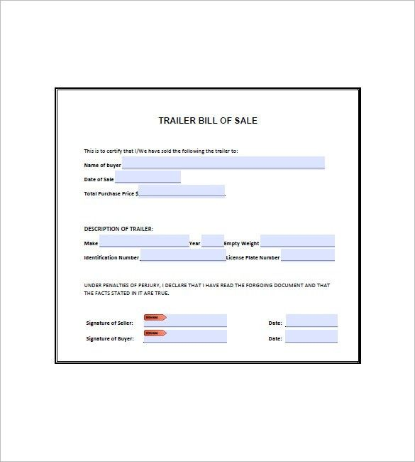 Trailer Bill of Sale – 8+ Free Word, Excel, PDF Format Download ...