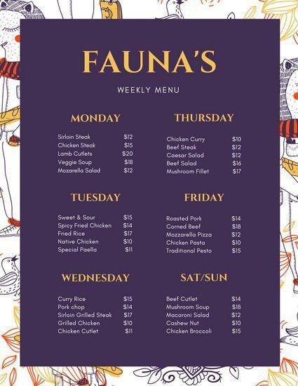 Purple and Yellow Ornate Pattern Weekly Menu - Templates by Canva