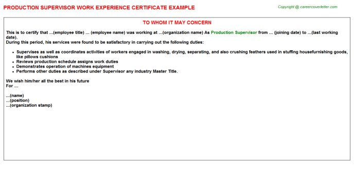 Production Supervisor Work Experience Certificate