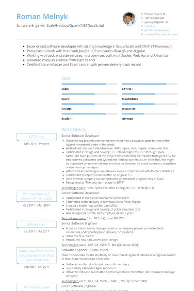 Senior Software Developer Resume samples - VisualCV resume samples ...