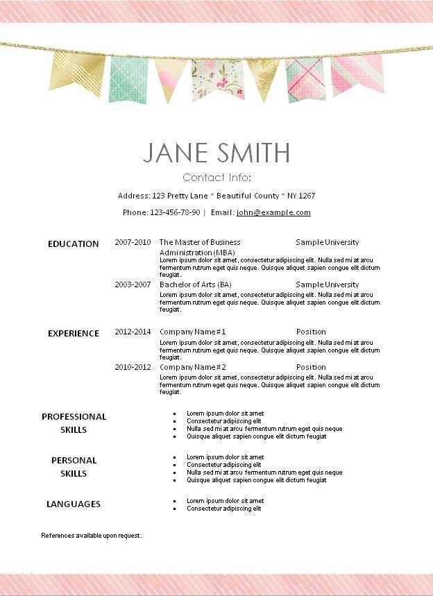 Free Resume Templates Borders | Professional resumes sample online