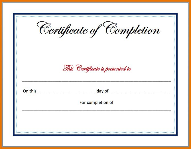 Microsoft Word Certificate Template.Completion Certificate ...