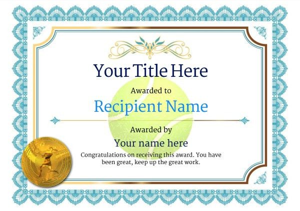 Free Tennis Certificate templates - Add Printable Badges & Medals