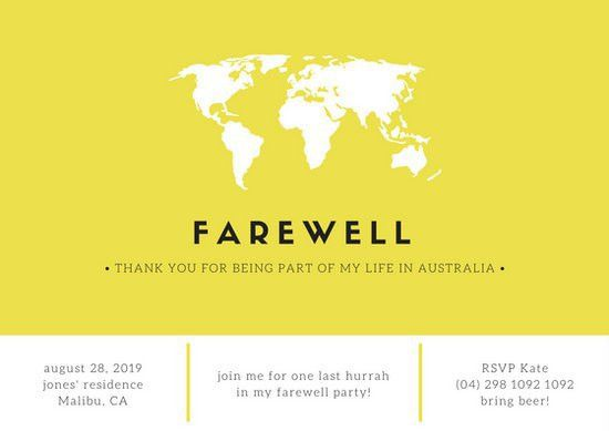 Yellow Minimal Farewell Party Invitation Card - Templates by Canva