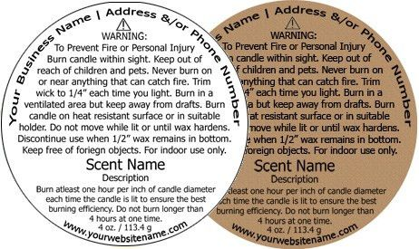 Candle Warning Labels customized with your information.