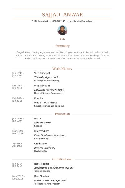 Vice Principal Resume samples - VisualCV resume samples database