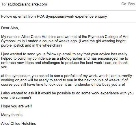 Professional Practice – Follow up email to Alan Clarke – alice ...