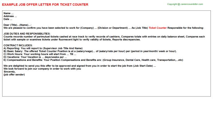 Ticket Counter Offer Letters
