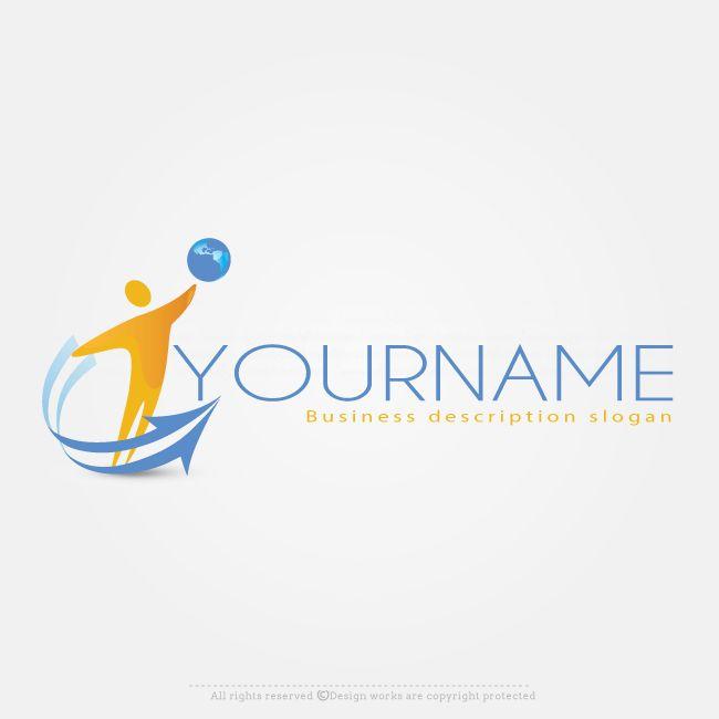 Free Logo Maker - Man With Globe logo design template | Globe logo ...